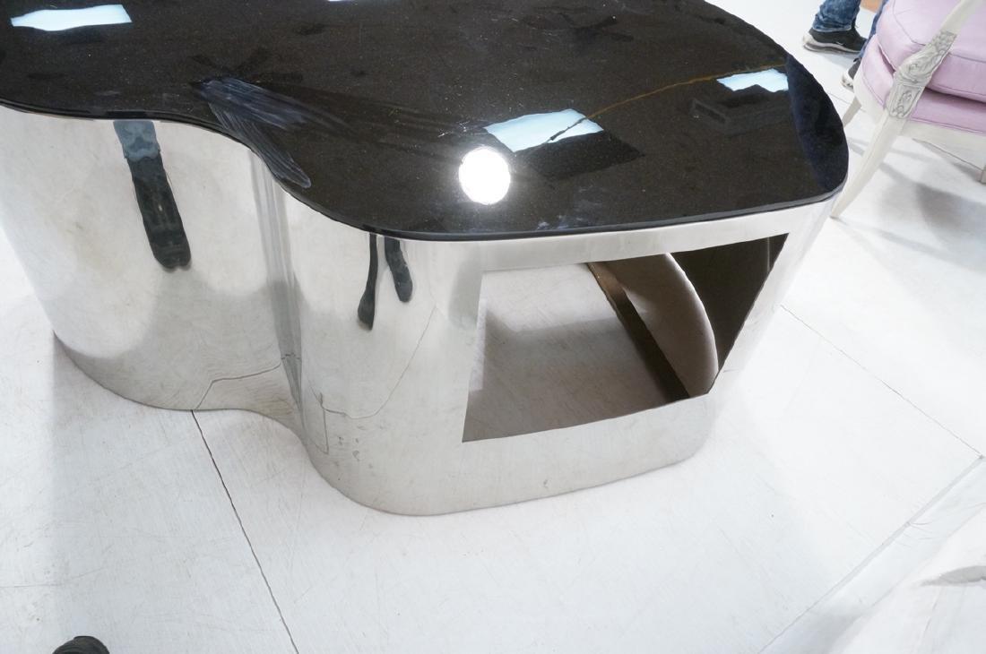 Karl Springer  Chrome Base Coffee Table. Black gl - 5