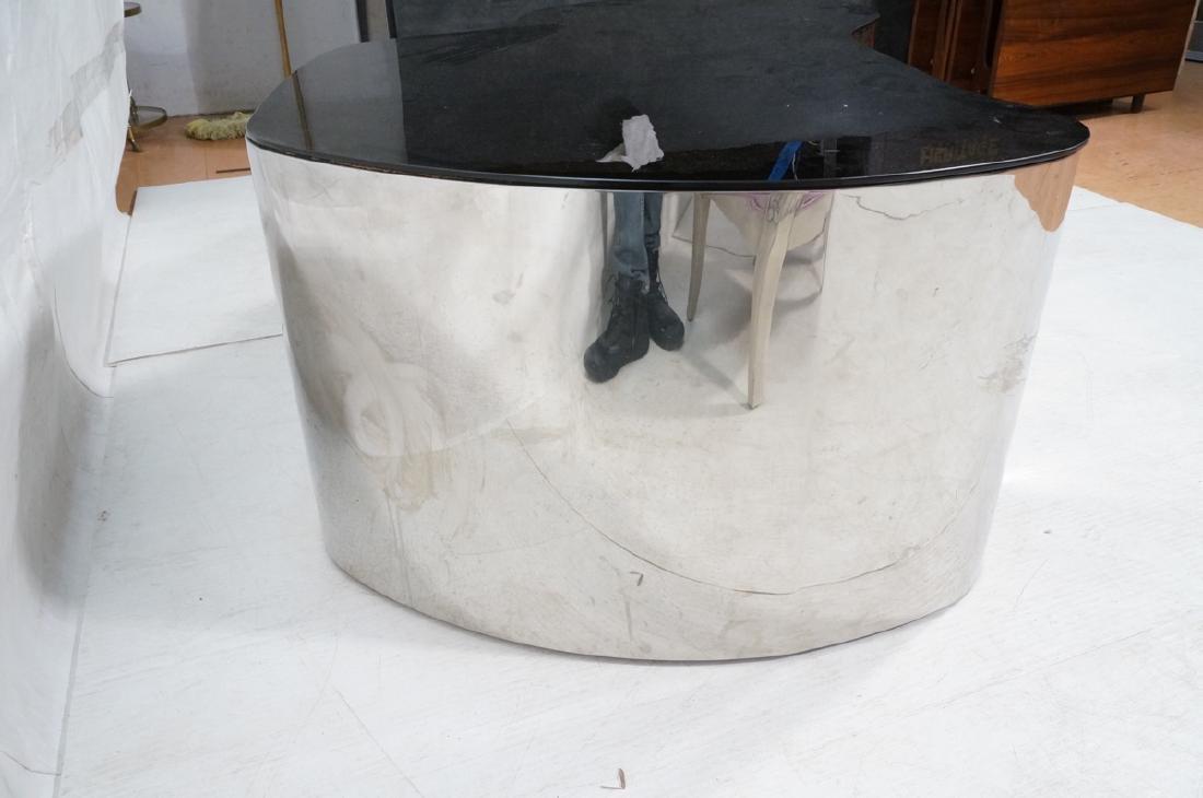 Karl Springer  Chrome Base Coffee Table. Black gl - 6
