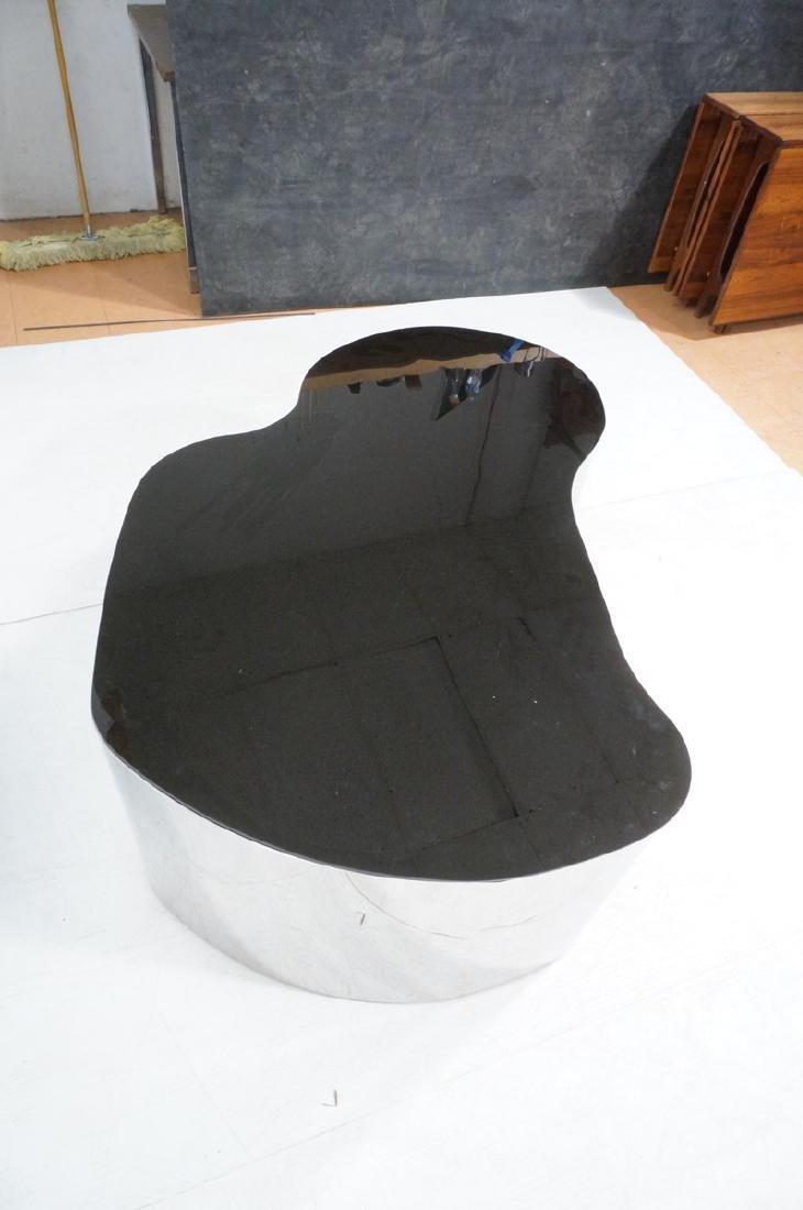 Karl Springer  Chrome Base Coffee Table. Black gl - 7