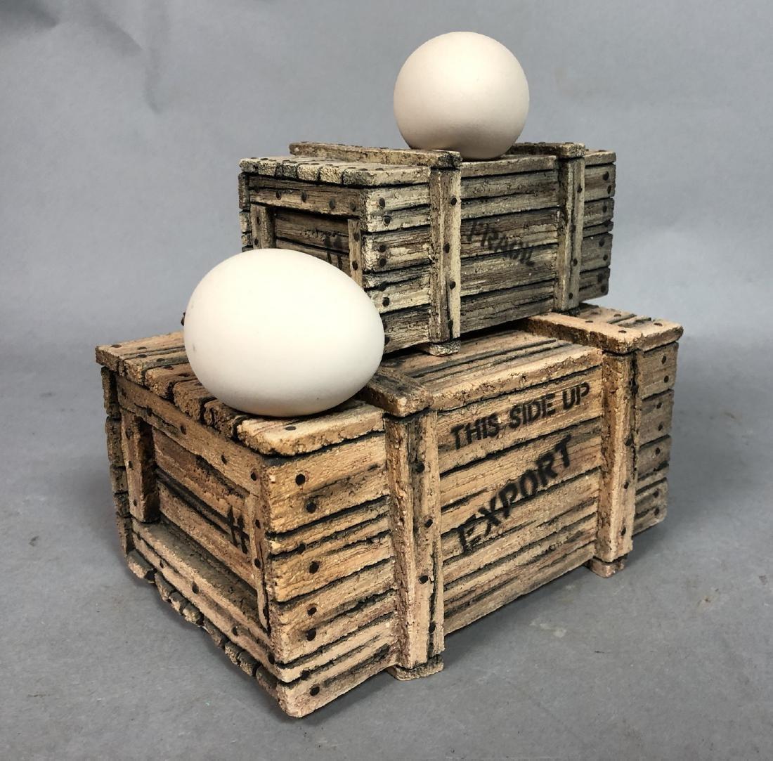 Egg & Crate Clay Figural Sculpture.  NORNIELLA.