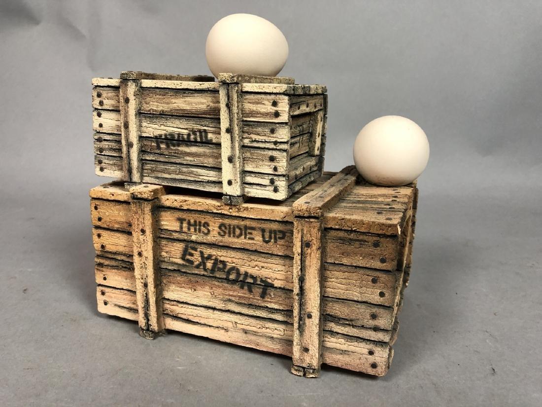 Egg & Crate Clay Figural Sculpture.  NORNIELLA. - 2