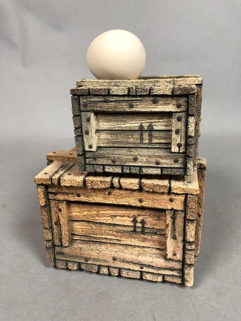 Egg & Crate Clay Figural Sculpture.  NORNIELLA. - 3