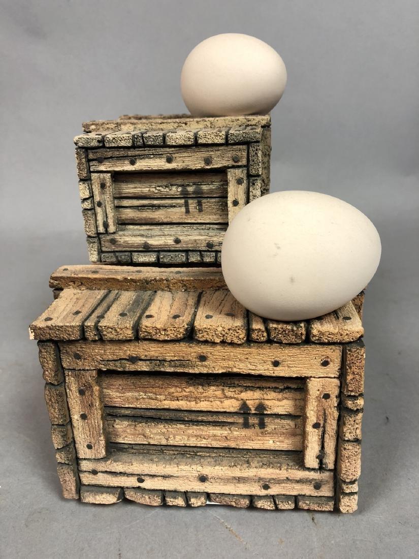 Egg & Crate Clay Figural Sculpture.  NORNIELLA. - 4
