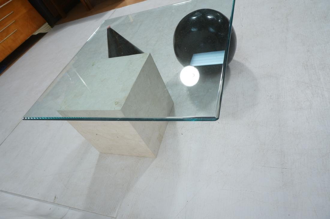 Memphis style Square Glass Top Cocktail Table. Gl - 4