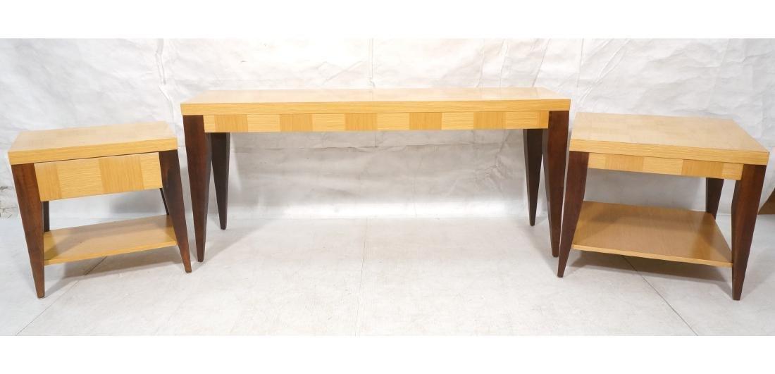 3pc LANE Modernist Tables.  Pr Side End Tables &