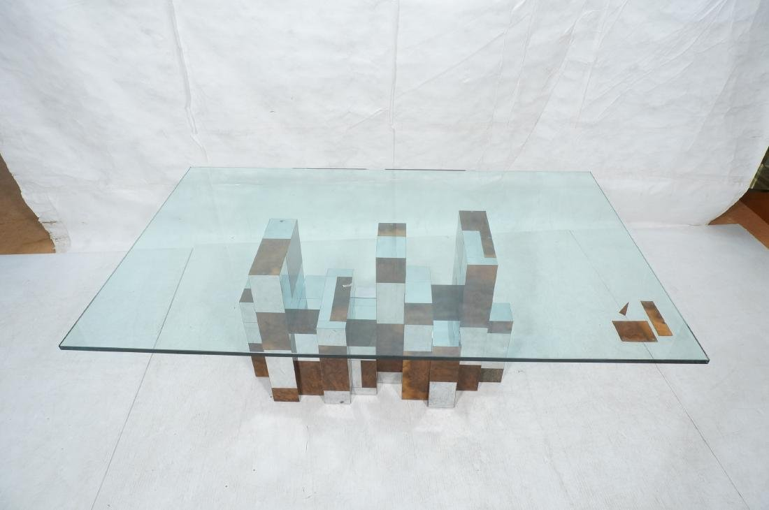 PAUL EVANS Glass Top Cityscape Dining Table. Burl - 11