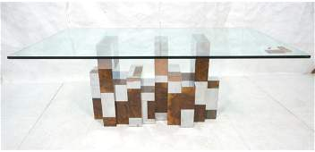 PAUL EVANS Glass Top Cityscape Dining Table. Burl