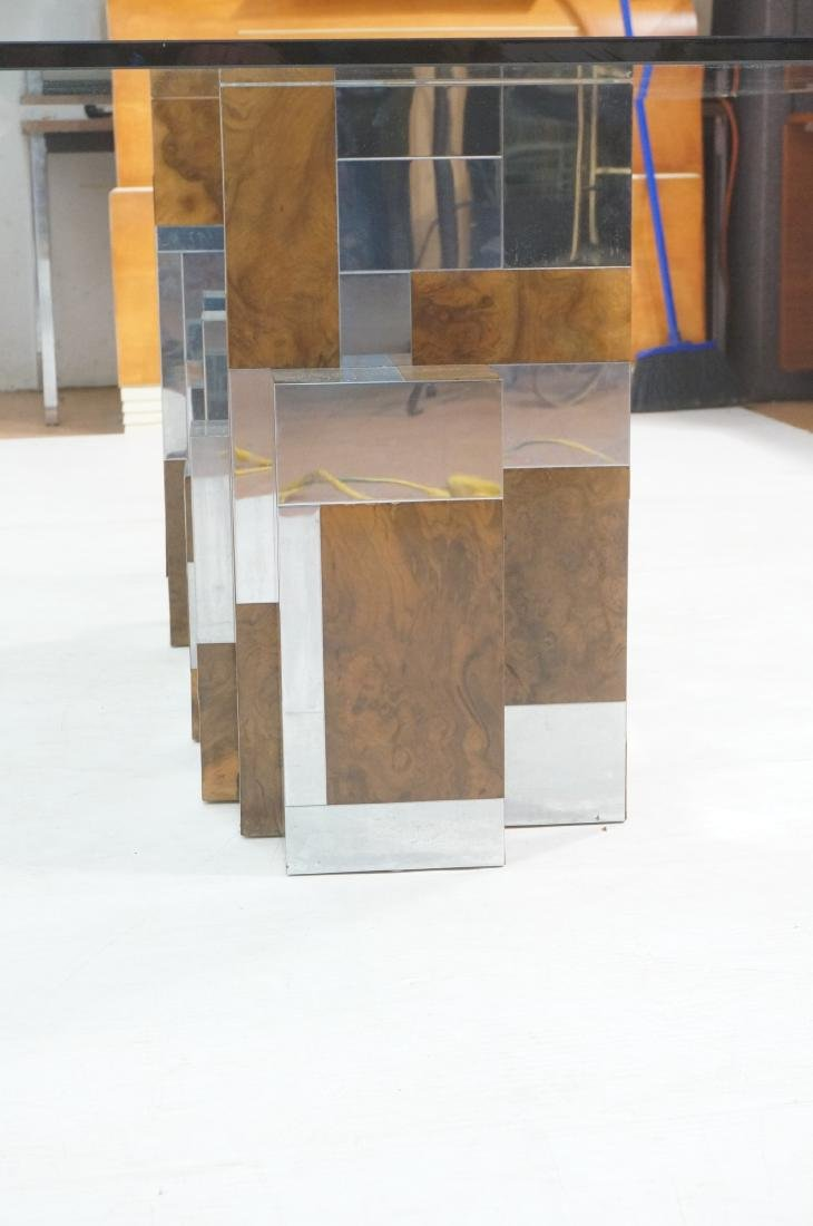 PAUL EVANS Glass Top Cityscape Dining Table. Burl - 4