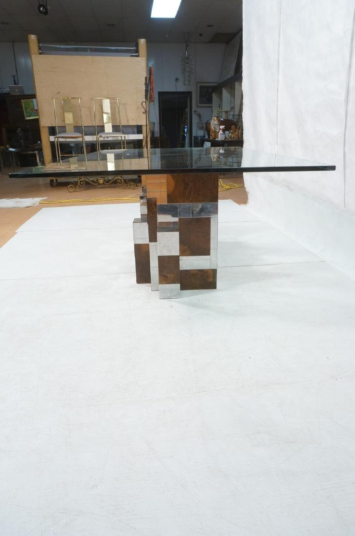 PAUL EVANS Glass Top Cityscape Dining Table. Burl - 7