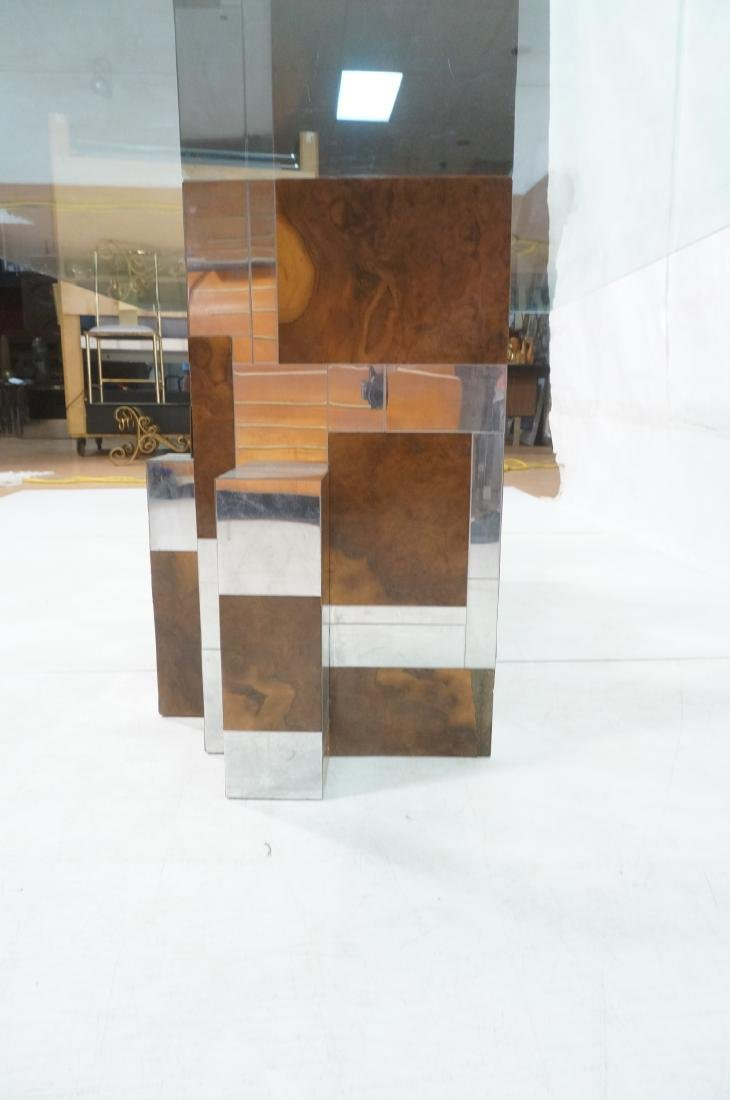 PAUL EVANS Glass Top Cityscape Dining Table. Burl - 8