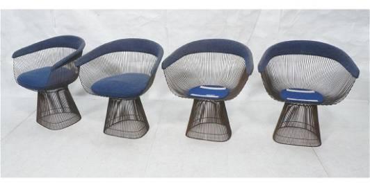 Set 4 WARREN PLATNER Lounge Chairs. Metal rod fra