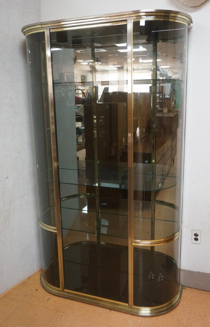 Bowed Glass Modern Brass Display Cabinet. DIA Sty