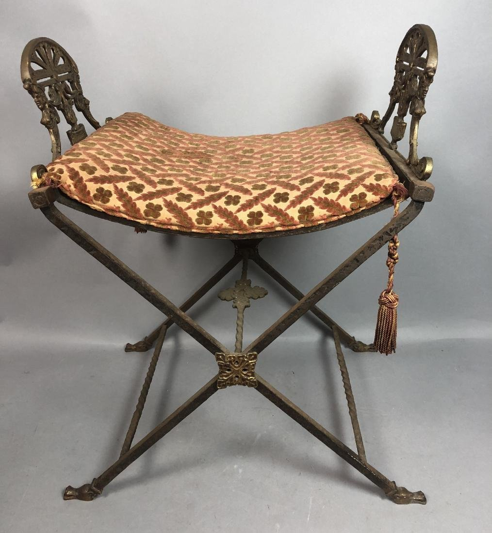 Antique Gilt Iron Bench Stool. X frame twisted me