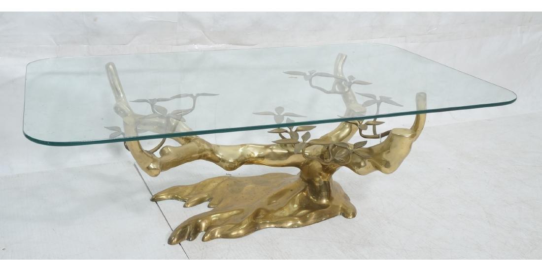 WILLY DARO Brass Glass Bonsai Cocktail Table. Mod