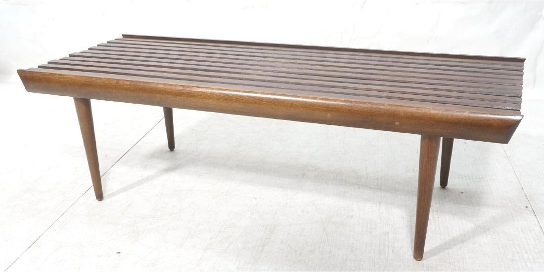 Modernist Wood Slat Bench Table. Tapered peg legs