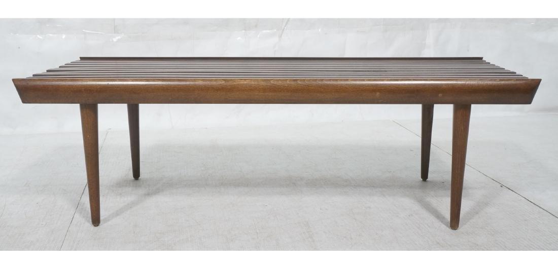 Modernist Wood Slat Bench Table. Tapered peg legs - 2