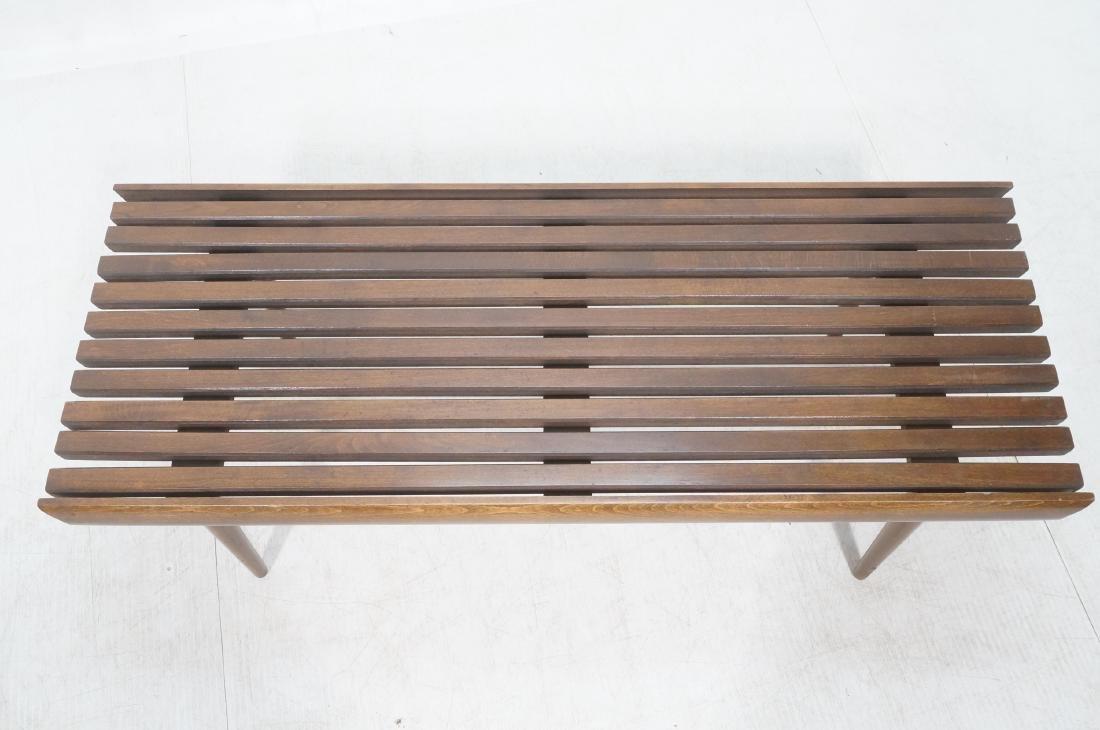 Modernist Wood Slat Bench Table. Tapered peg legs - 3
