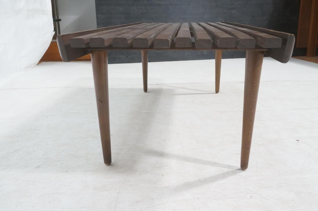 Modernist Wood Slat Bench Table. Tapered peg legs - 4