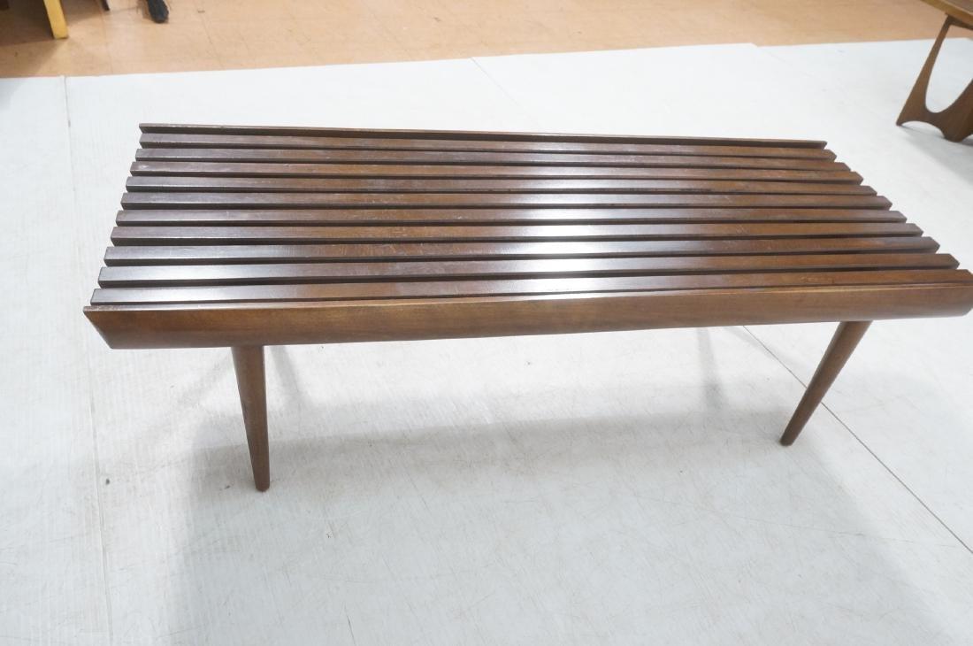 Modernist Wood Slat Bench Table. Tapered peg legs - 5