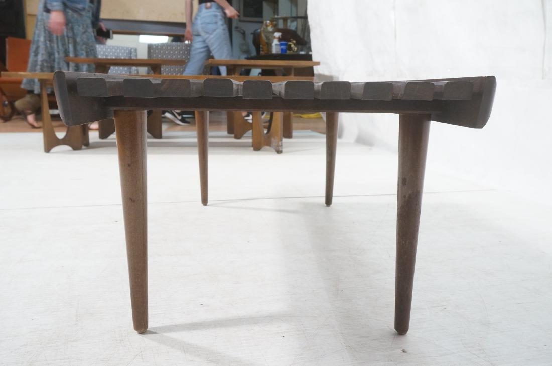 Modernist Wood Slat Bench Table. Tapered peg legs - 6