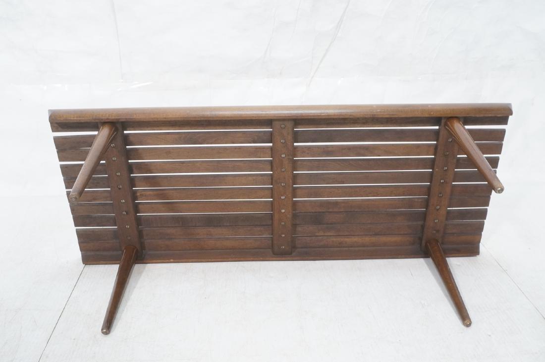 Modernist Wood Slat Bench Table. Tapered peg legs - 7