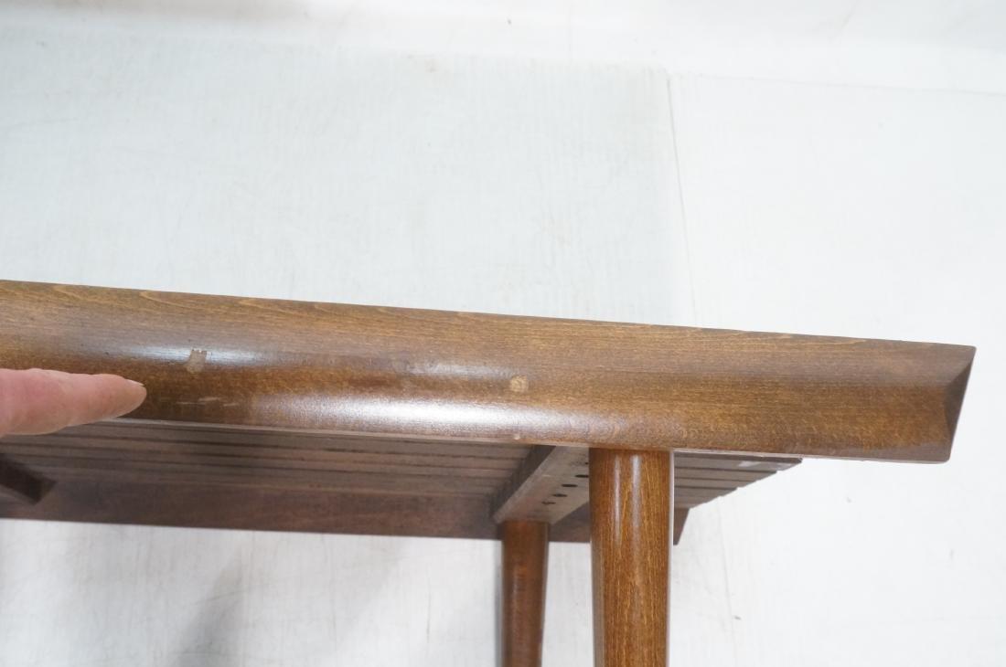 Modernist Wood Slat Bench Table. Tapered peg legs - 8