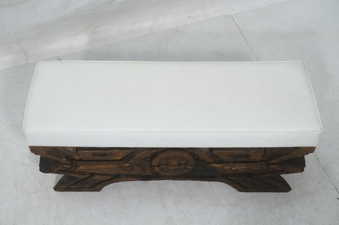 WITCO Carved Wood Bench. Thick white vinyl seat c - 3