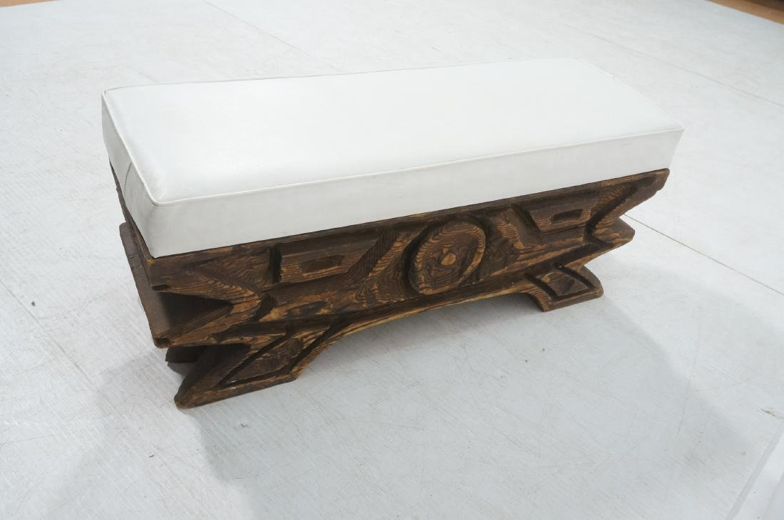 WITCO Carved Wood Bench. Thick white vinyl seat c - 5
