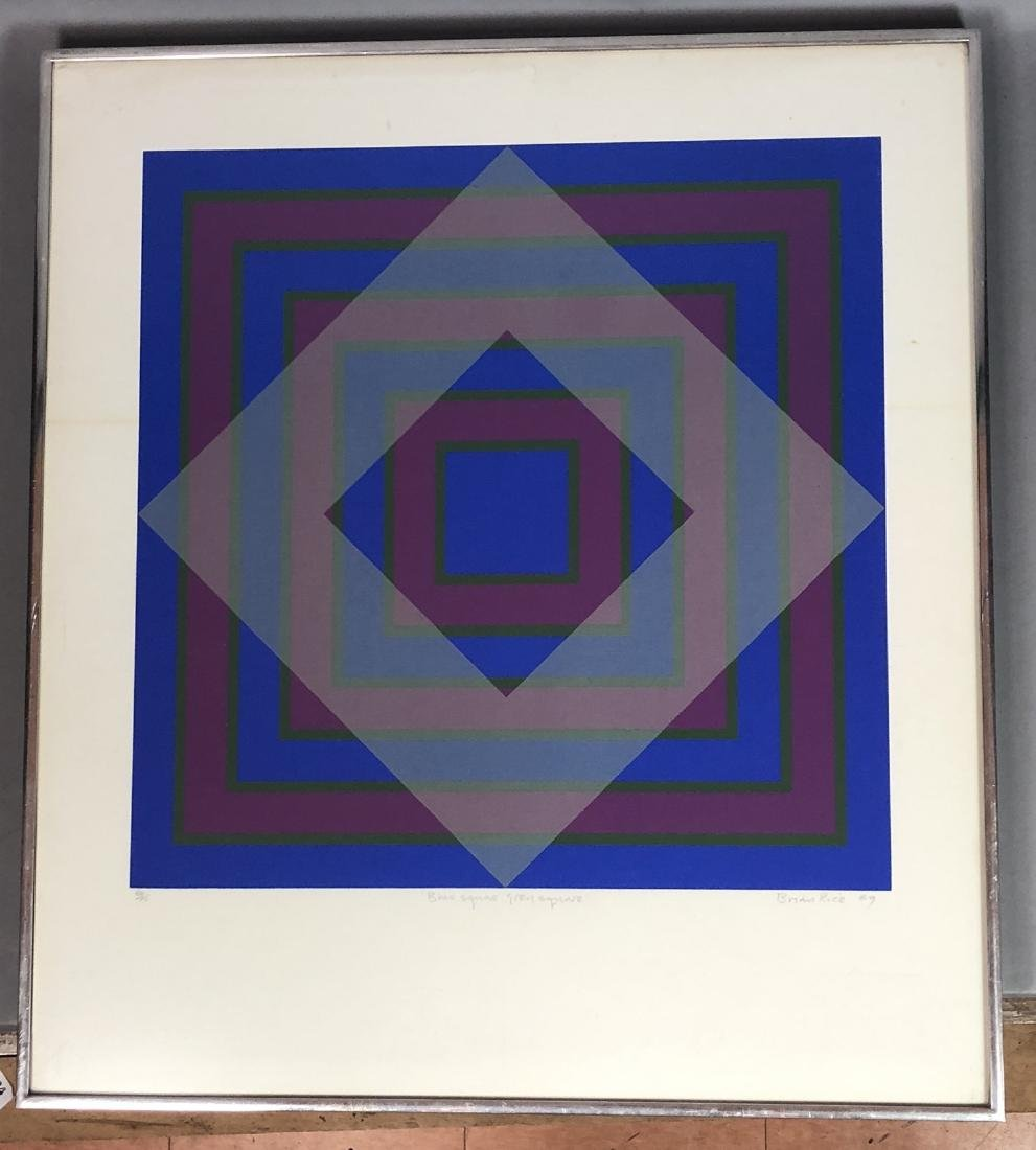 "BRIAN RICE 1969 Op Art Lithograph Print. ""Blue Sq"
