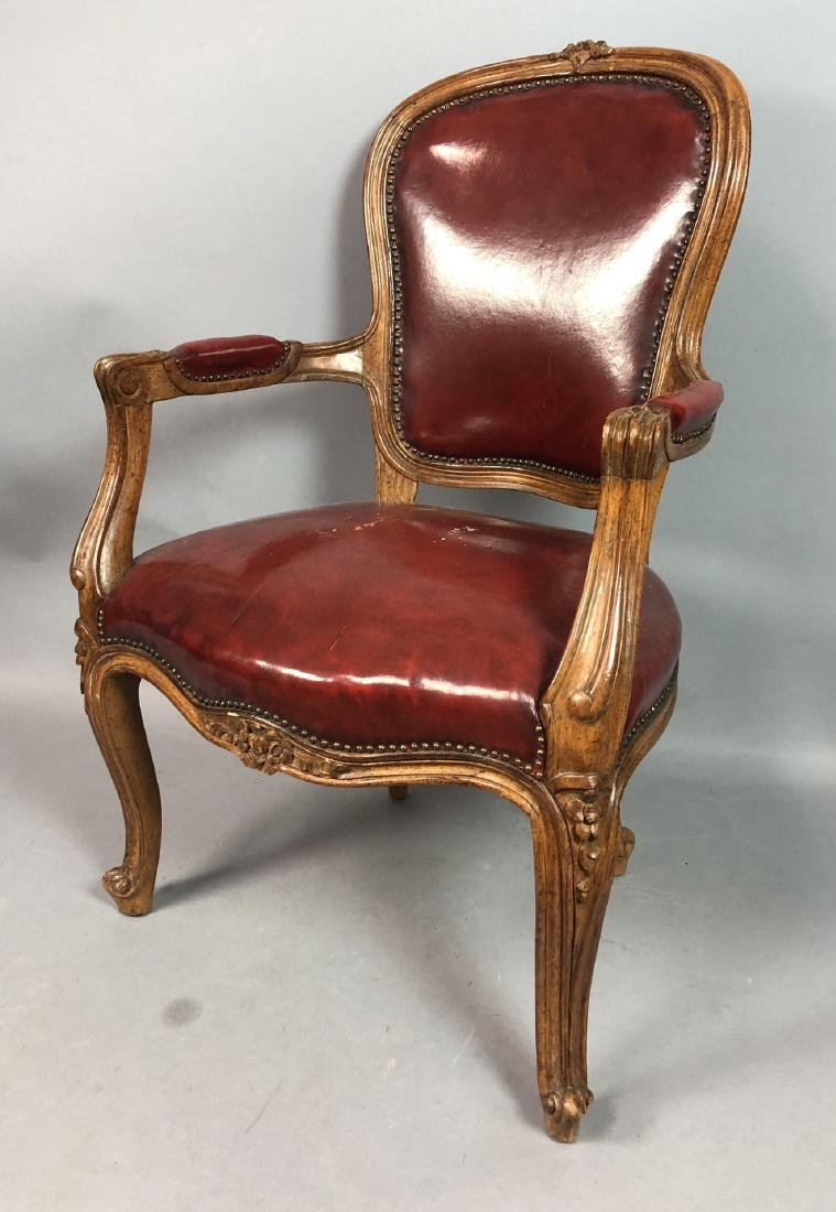 Burgundy Leather  Antique Child's Chair. French s