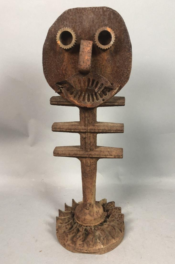 "Industrial Rusted Steel ""Emoji"" Face Sculpture. F"