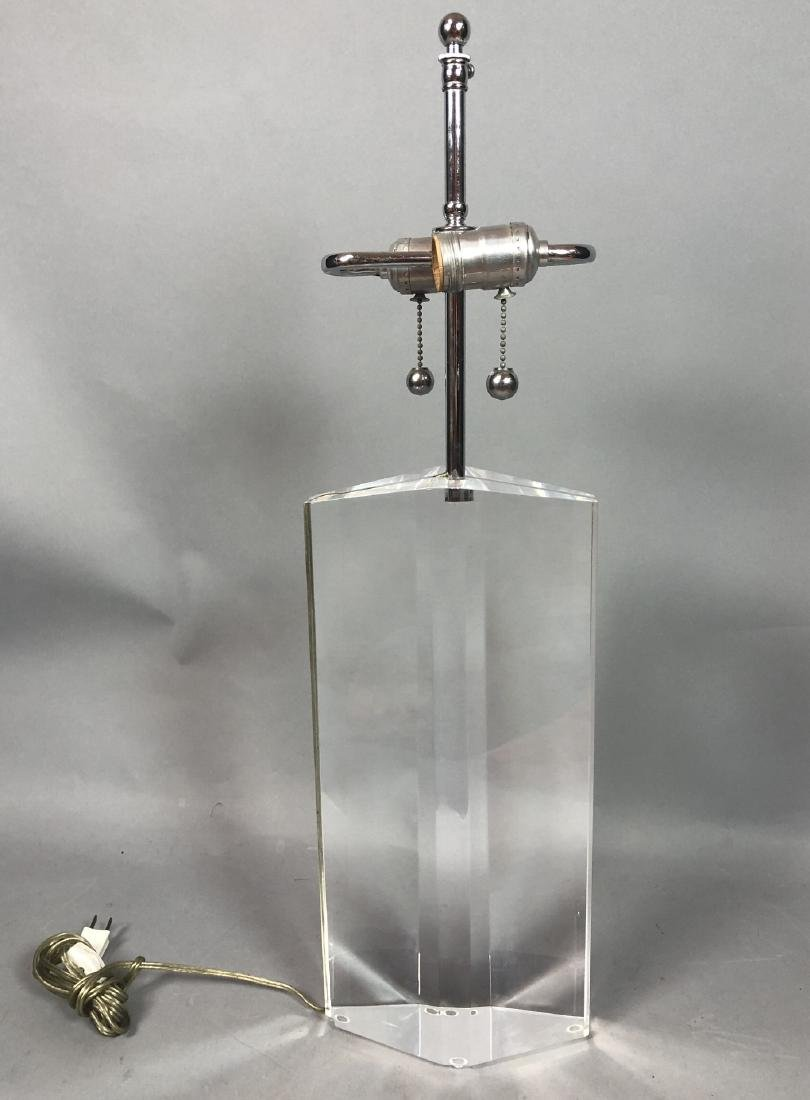 Clear Lucite Table Lamp. Faceted form.