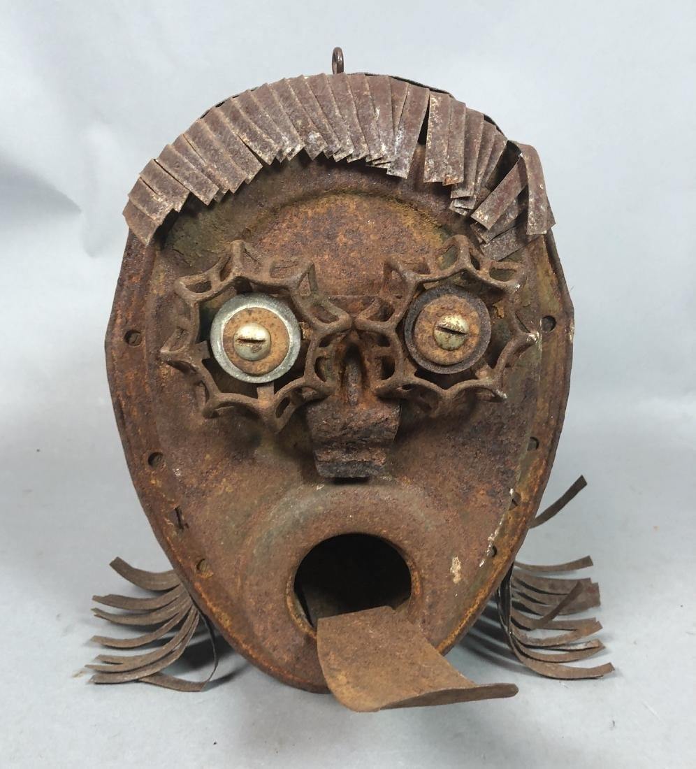 Figural Birdhouse. Rusted Metal Head with extende