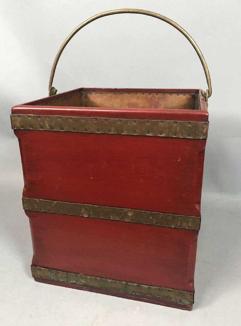 Red Lacquered Square Bucket. Brass Straps & Handl