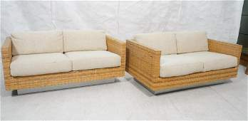 Pr MILO BAUGHMAN Woven Rattan Loveseat Sofa. Silv