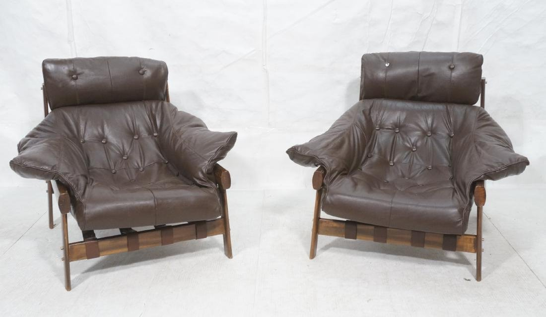Pr LAFER Style Brown Leather Lounge Chairs. Overs