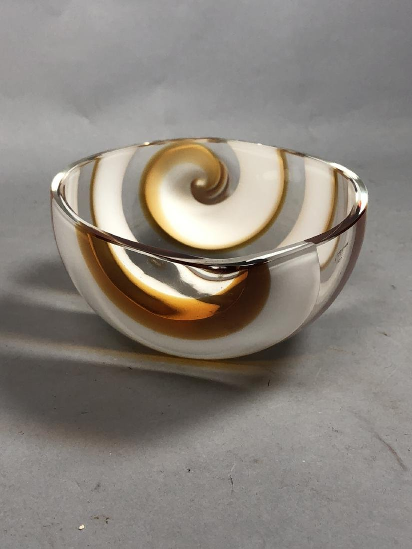 SEGUSO Murano Italian Art Glass Shell Form Bowl. - 5