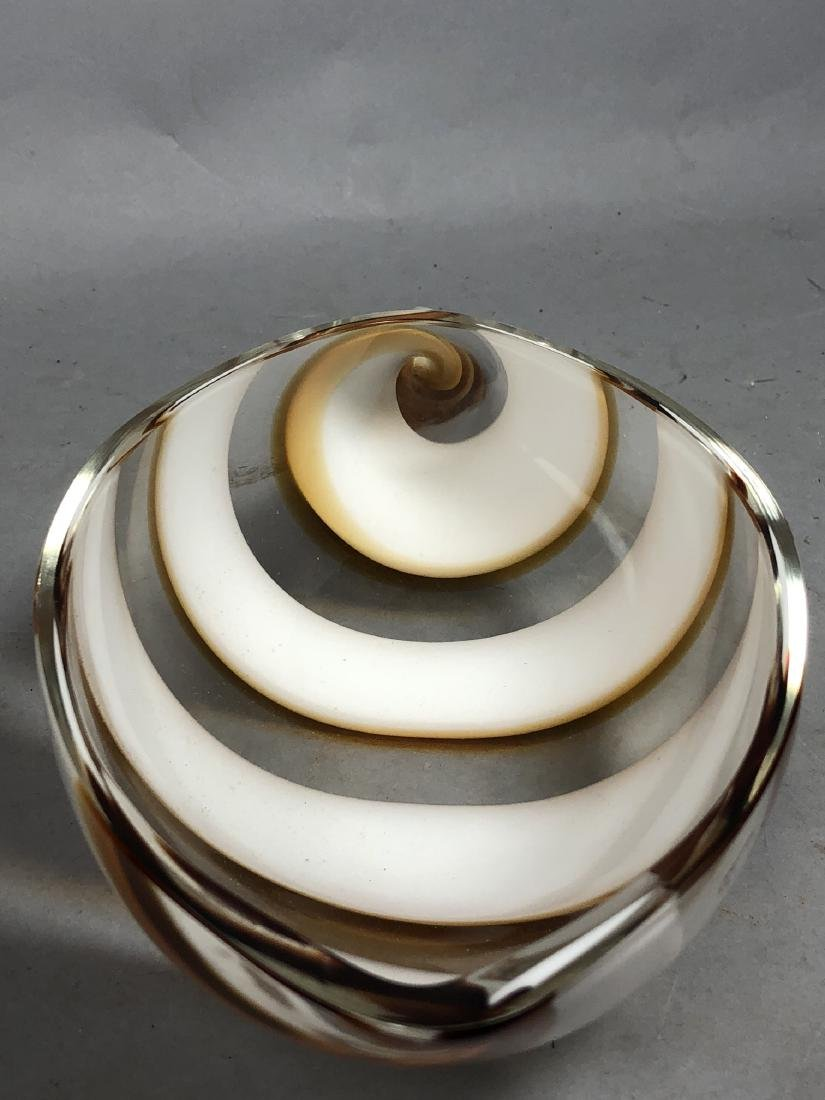 SEGUSO Murano Italian Art Glass Shell Form Bowl. - 6