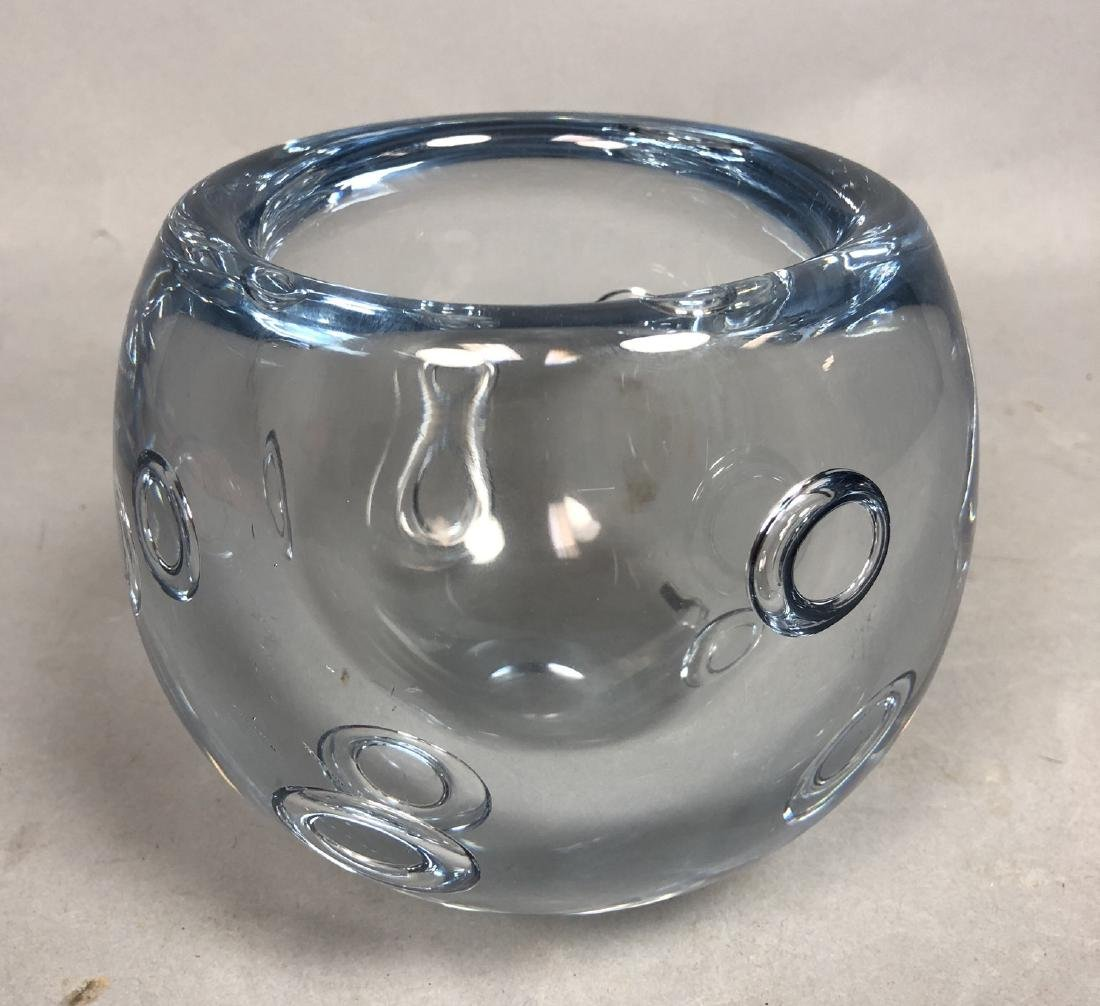 GUNNAR NYLUND Pale Blue Art Glass Bowl. Thick wal