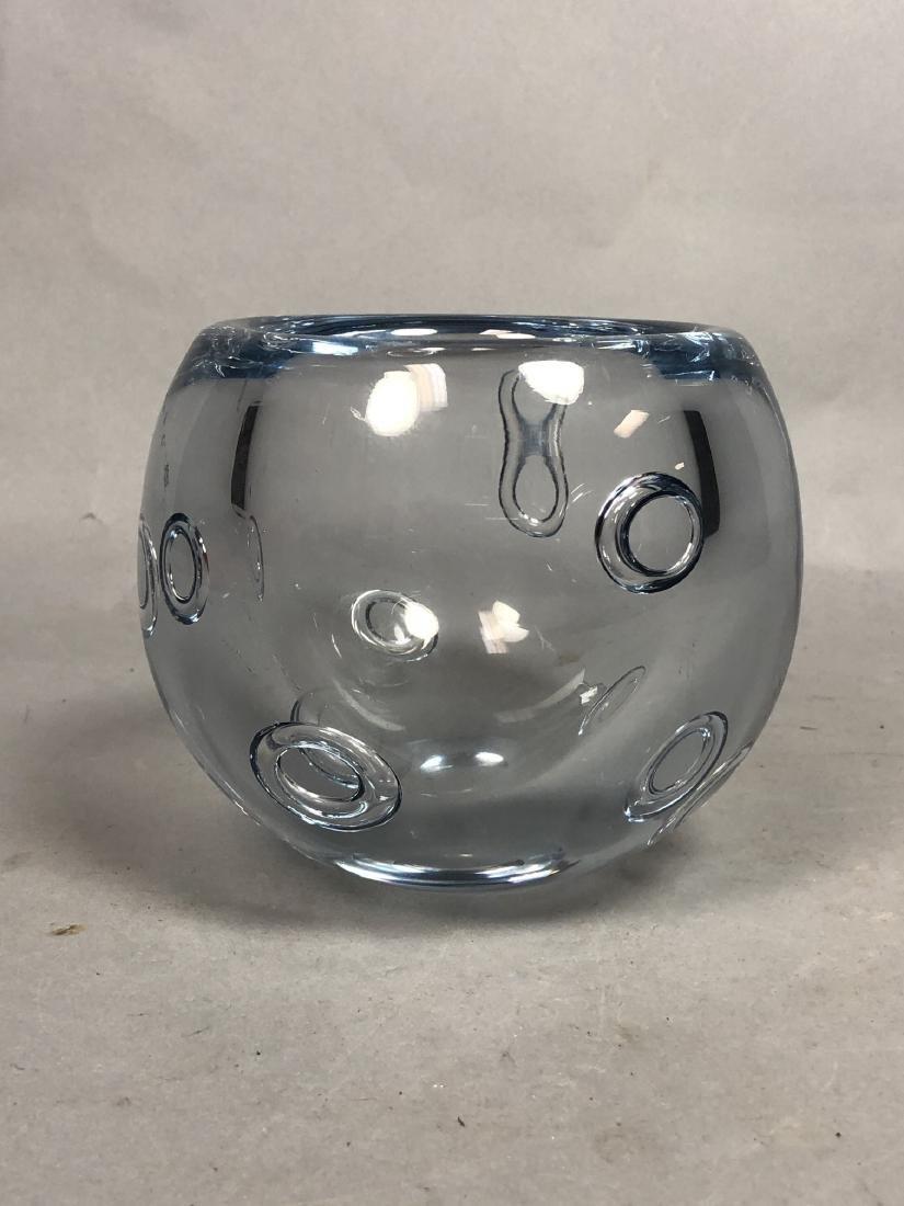 GUNNAR NYLUND Pale Blue Art Glass Bowl. Thick wal - 2