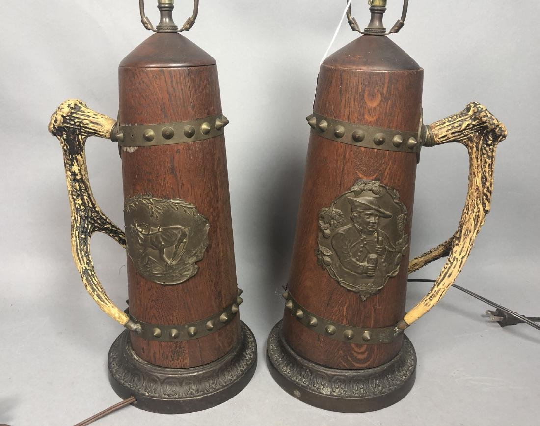 Pr Antique Wood Lamps with Antler Handles. Metal