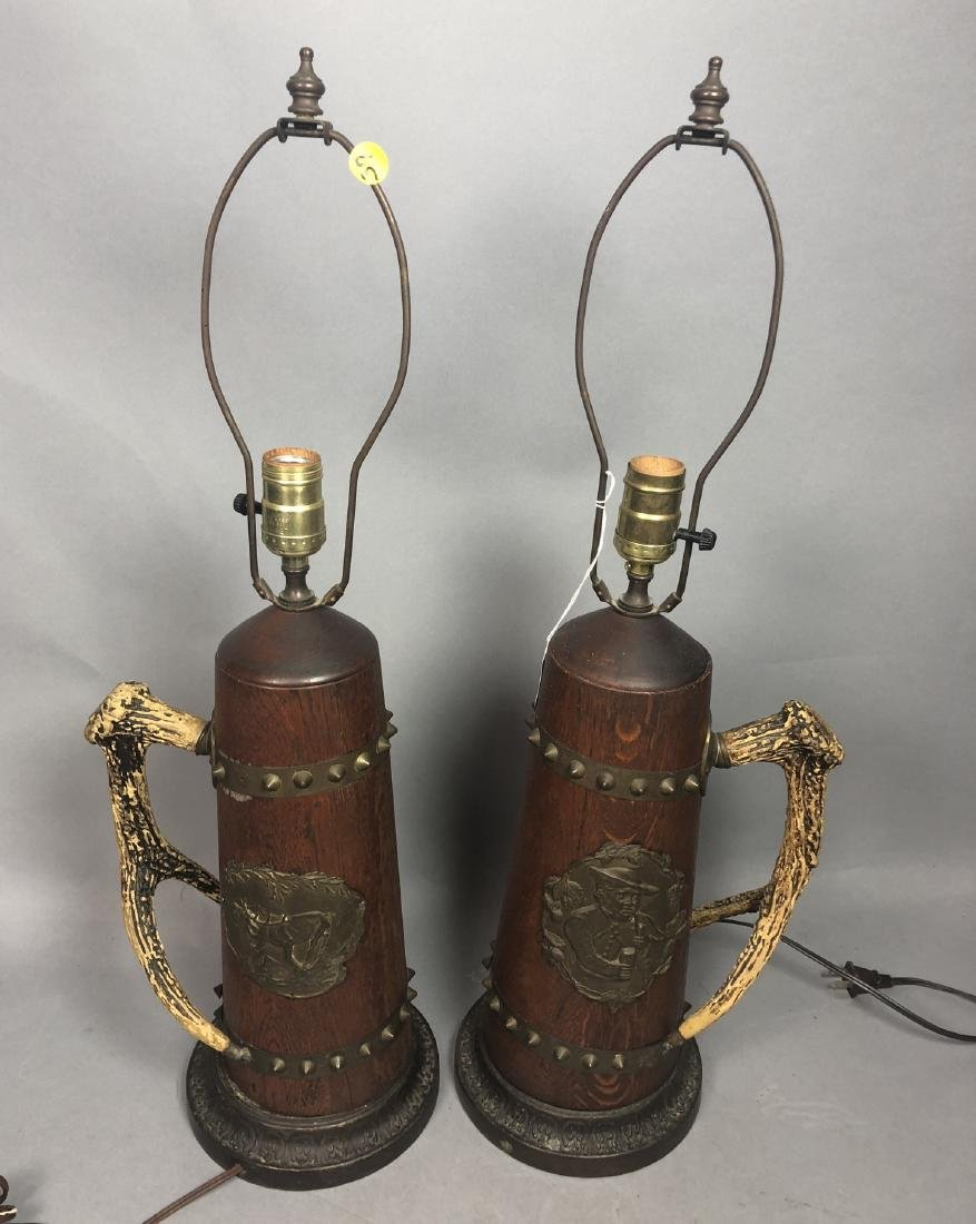 Pr Antique Wood Lamps with Antler Handles. Metal - 2