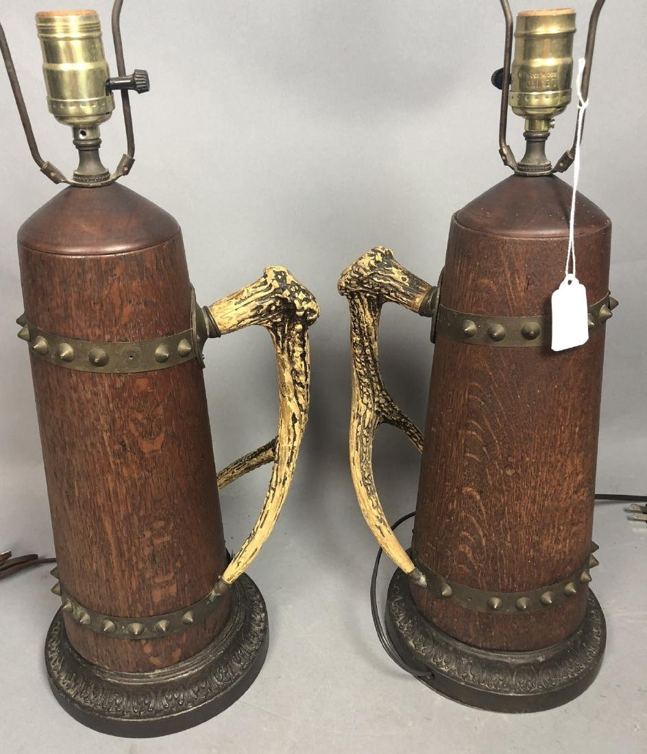 Pr Antique Wood Lamps with Antler Handles. Metal - 3