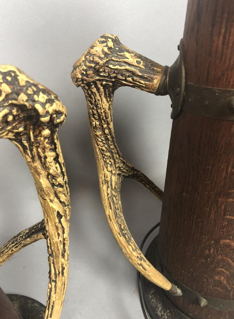 Pr Antique Wood Lamps with Antler Handles. Metal - 4
