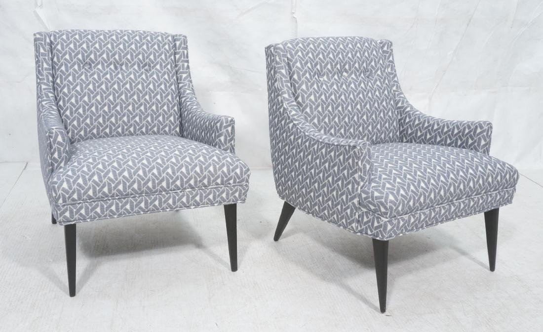 Pr Modernist Sloped Arm Lounge Chairs. Blue and w