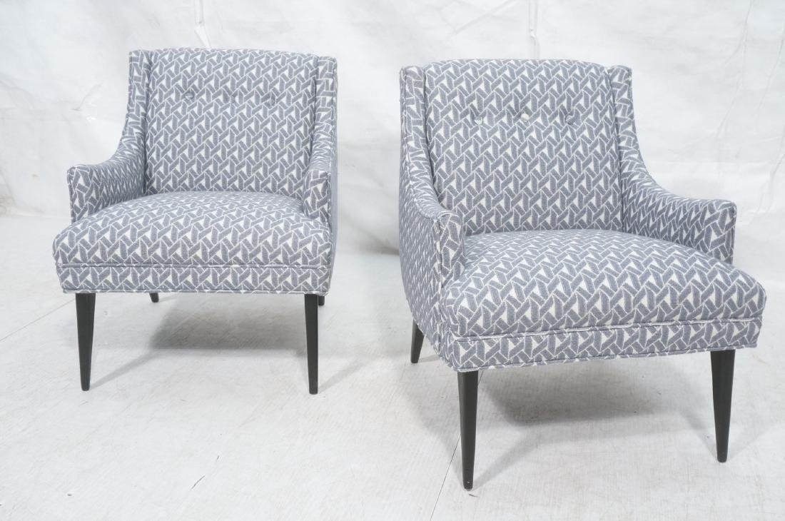 Pr Modernist Sloped Arm Lounge Chairs. Blue and w - 2