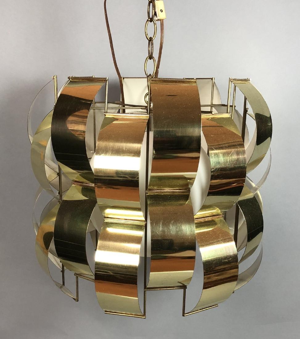 C JERE Style Bowed Brass Panel Modernist Chandeli