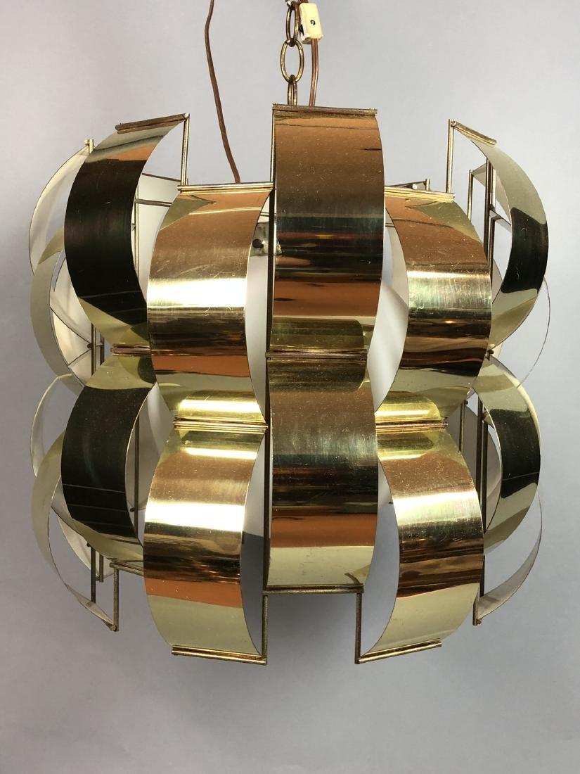 C JERE Style Bowed Brass Panel Modernist Chandeli - 2