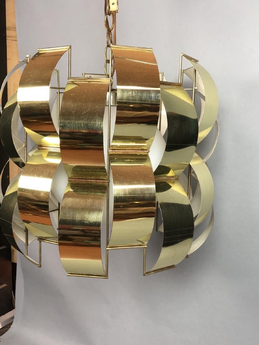 C JERE Style Bowed Brass Panel Modernist Chandeli - 3