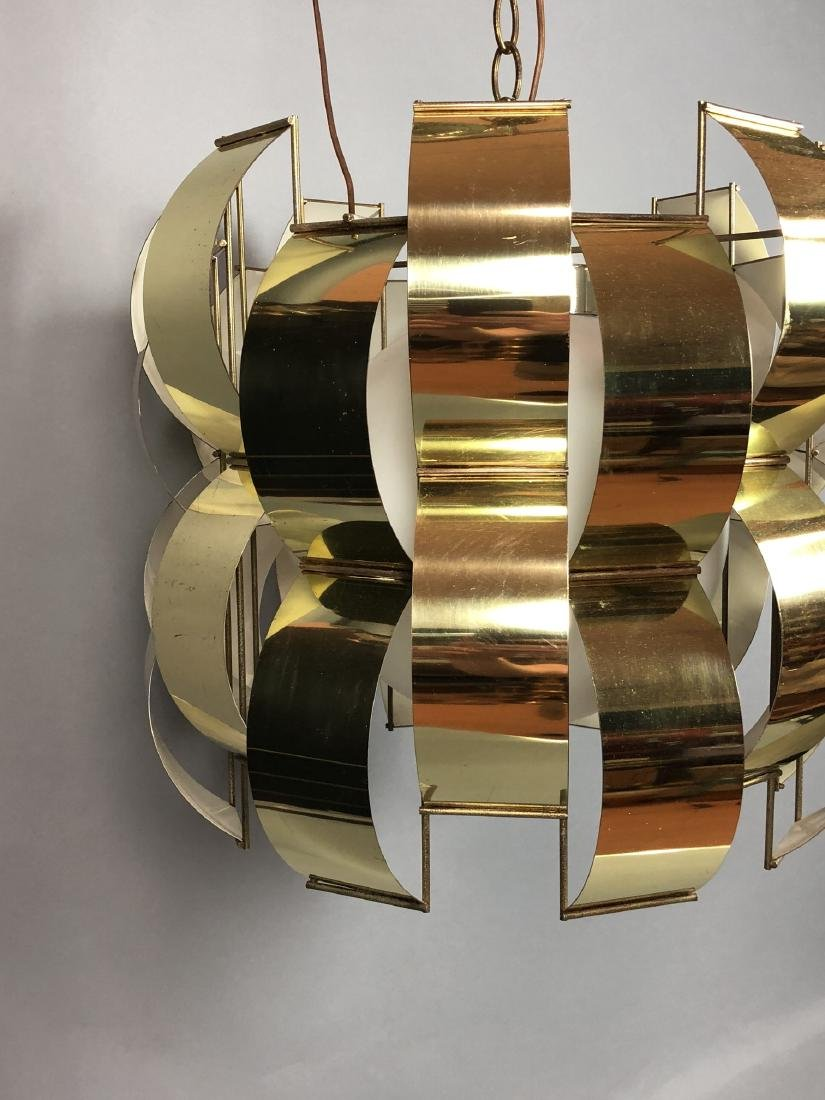 C JERE Style Bowed Brass Panel Modernist Chandeli - 4